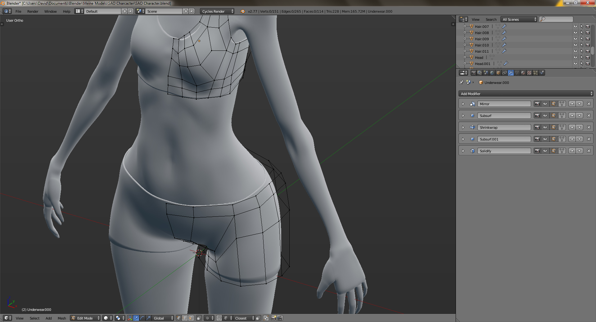 Blender Character Modeling 4 Of 10 : Quick tip for modeling skin tight clothes in blender