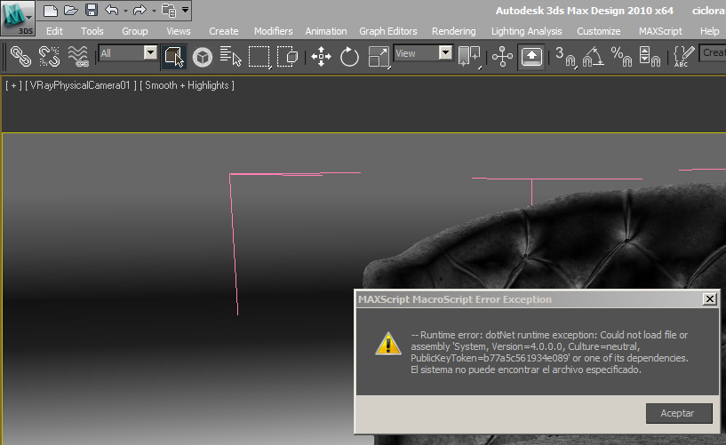 Error by clicking on de Skechfab icon in 3DS MAX Design 2010