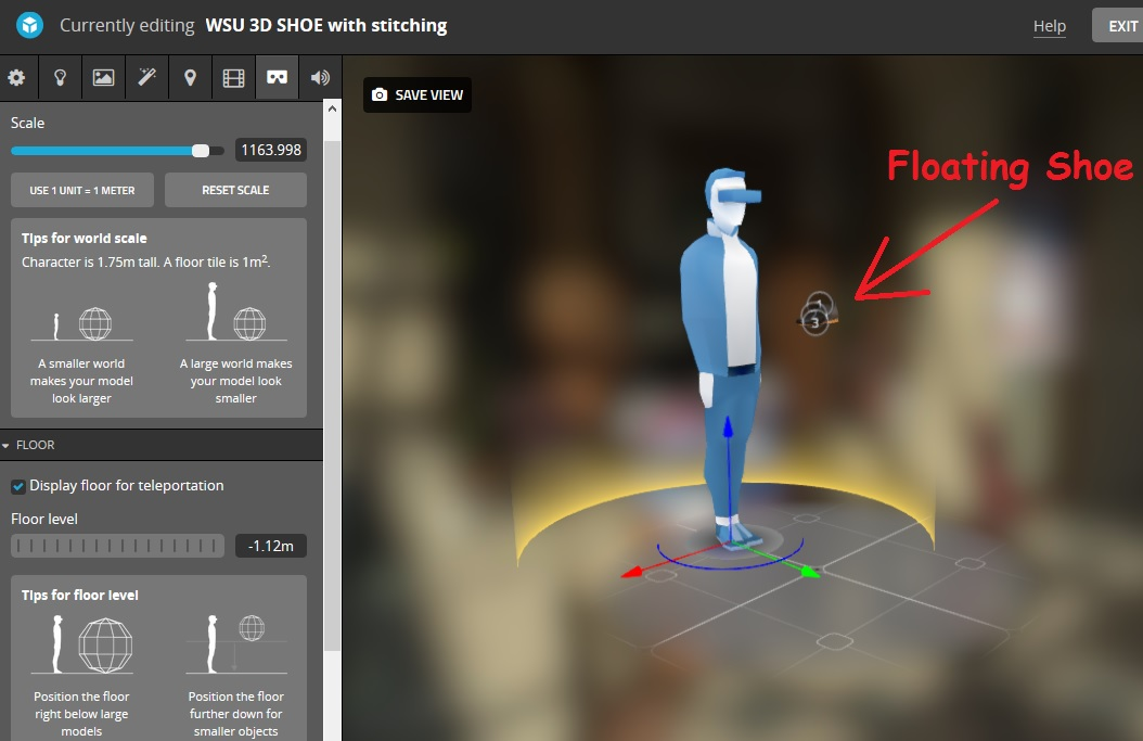 VR Issue: scaling model moves it out of view, if not placed on floor