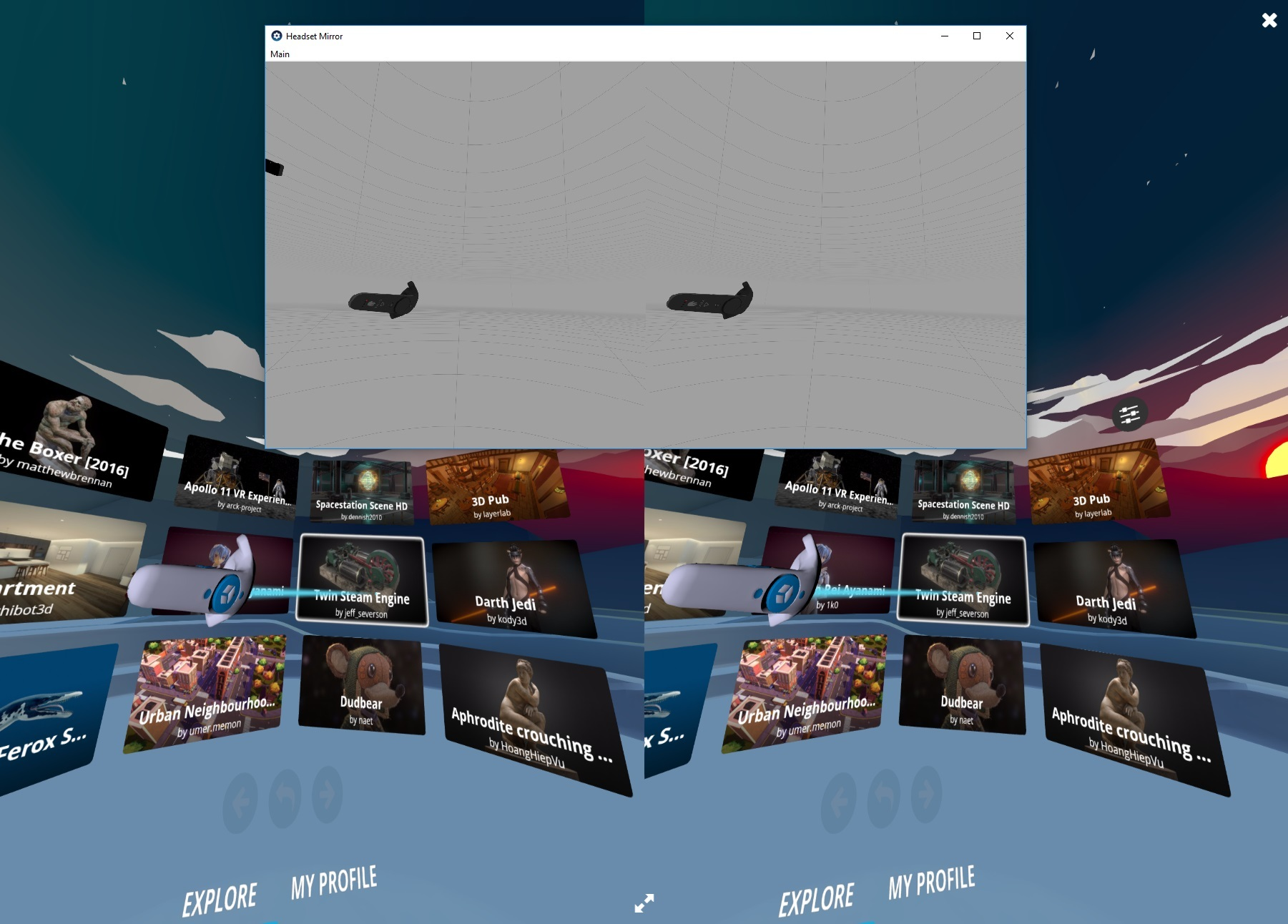VR launcher doesn't show content in VIVE but tracks in