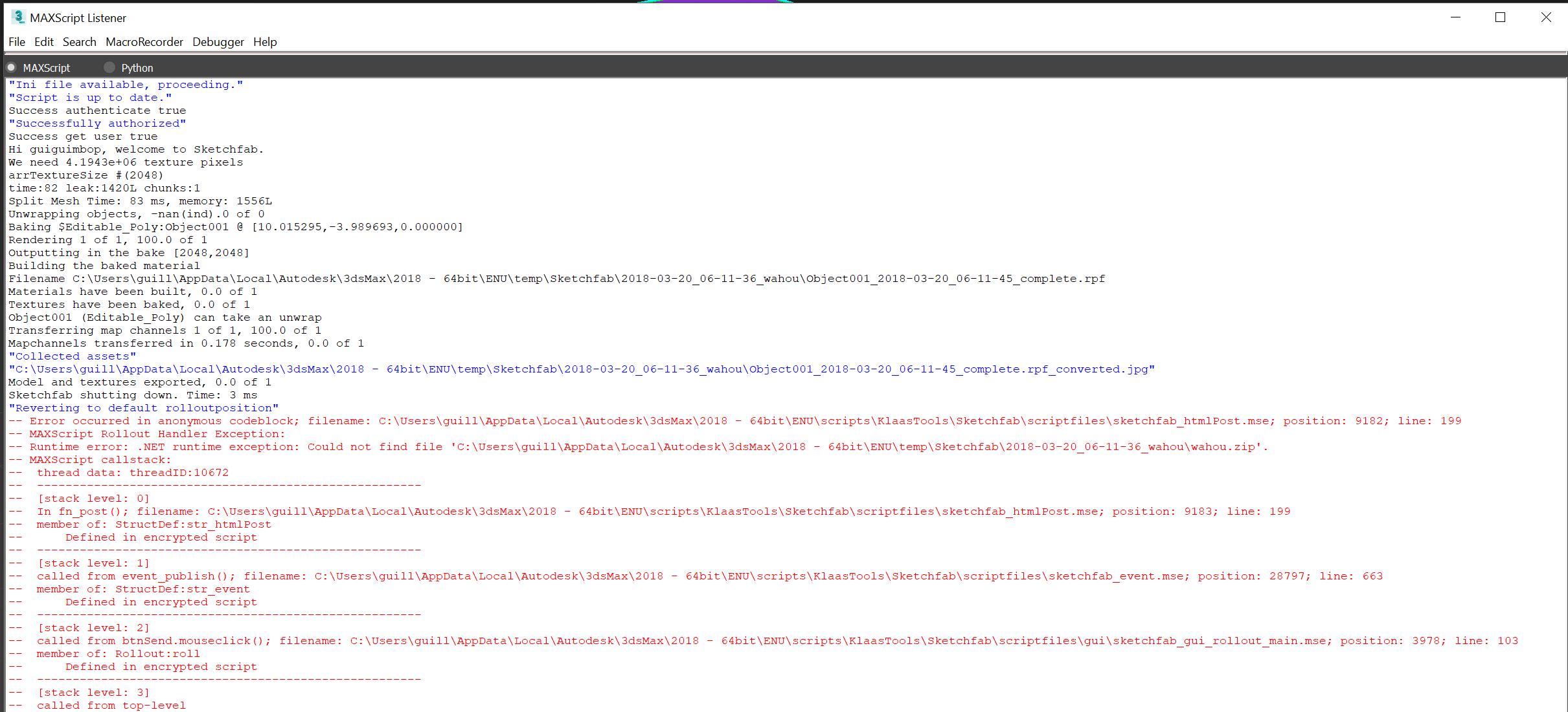 3DS MAX plugin, exporter error - Bugs - Sketchfab Forum