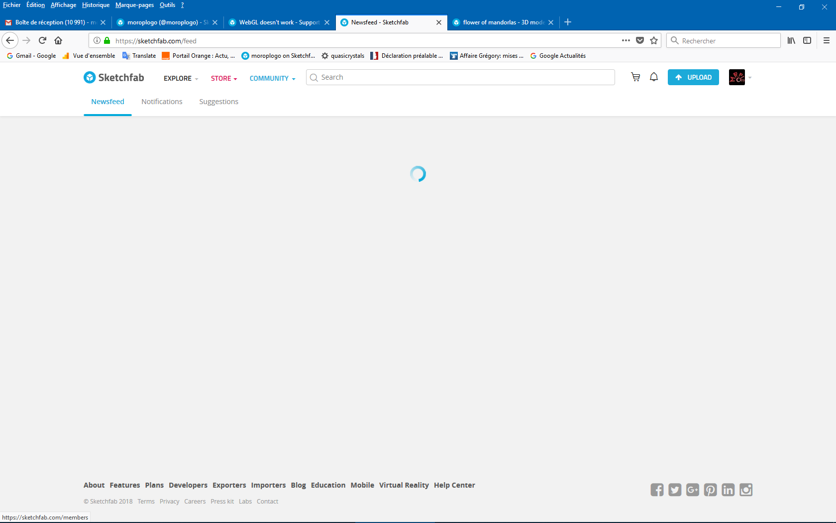 Getting blank pages in Firefox - Support - Sketchfab Forum