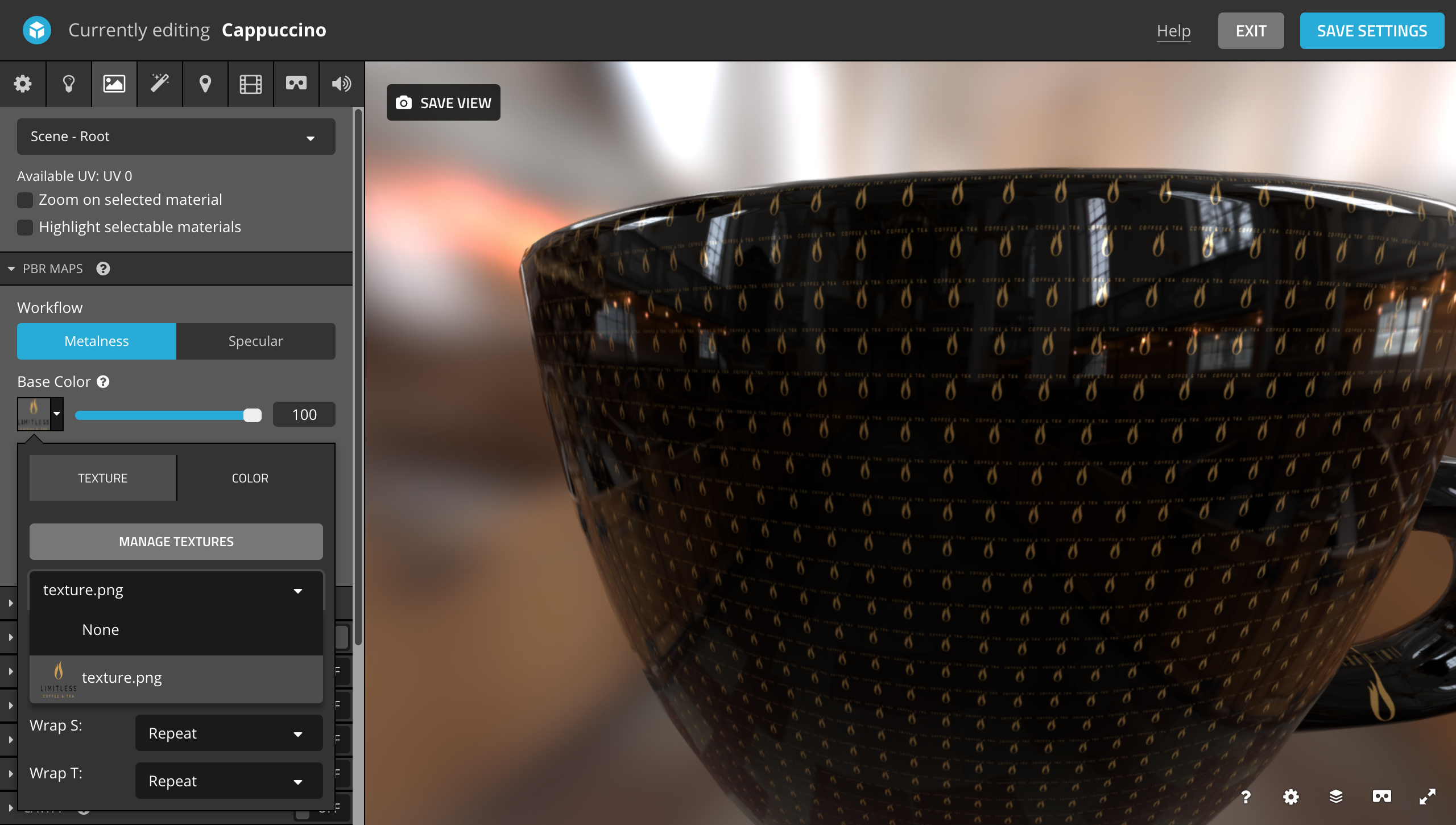 How to place an bitmap logo on 3D coffee mug in Sketchfab